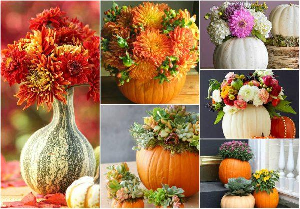 Красивая ваза для осенних цветов из тыквы